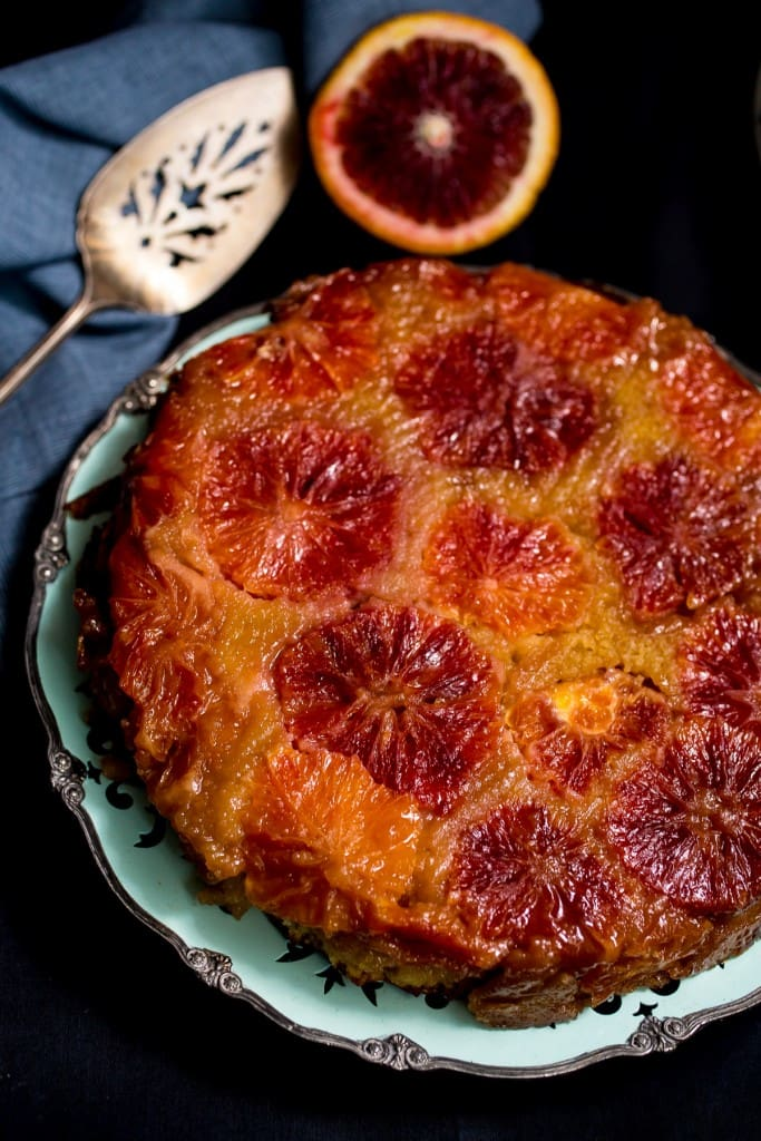 Blood Orange Almond Upside Down Cake from The Girl In The Little Red Kitchen