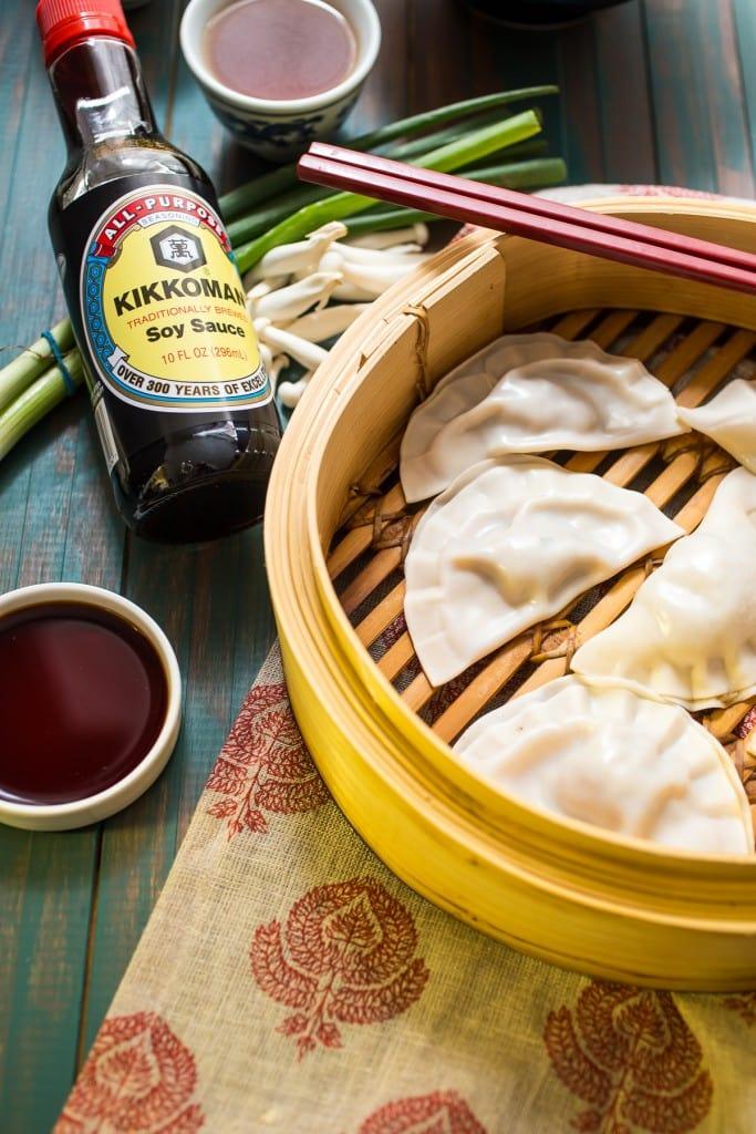 Chicken Mushroom Dumpling and Noodle Soup | girlnthelittleredkitchen.com