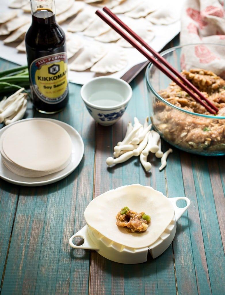 Chicken Mushroom Dumpling and Noodle Soup | girlinthelittleredkitchen.com