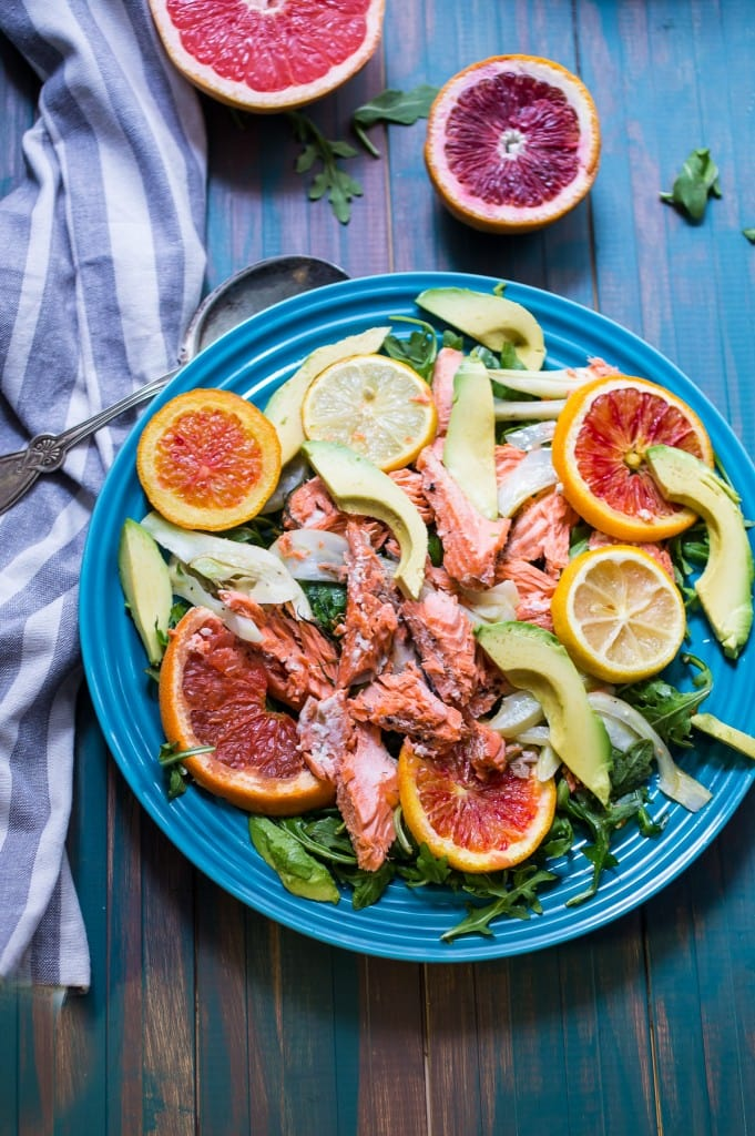 Slow Roasted Salmon with Citrus, Fennel and Avocado from The Girl In The Little Red Kitchen | Hands off, easy weeknight meal that's Whole30 and Paleo friendly!