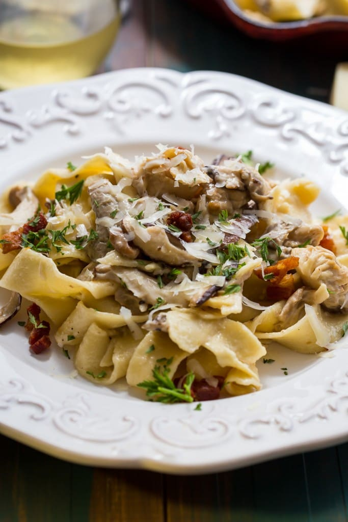 Pappardelle with Mushrooms and Goat Cheese Cream Sauce | girlinthelittleredkitchen.com