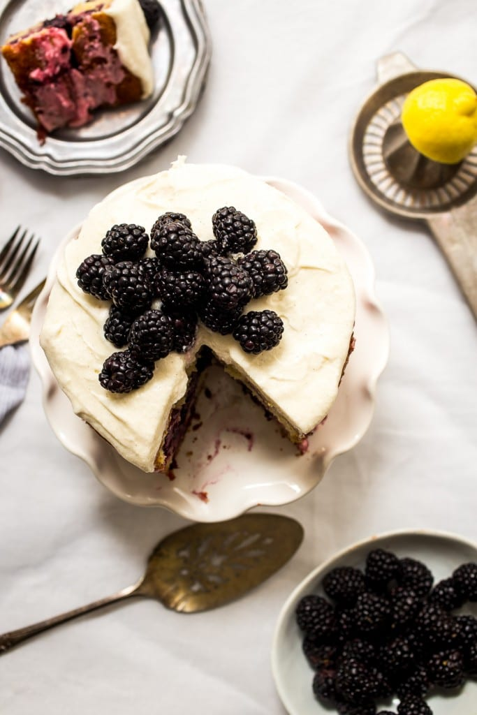 Blackberry Lemon Naked Cake | girlinthelittleredkitchen.com