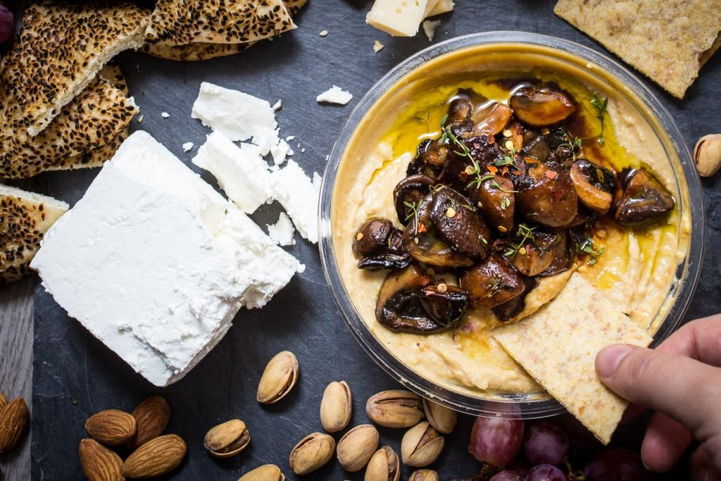 Balsamic Mushroom Hummus | girlinthelittleredkitchen.com