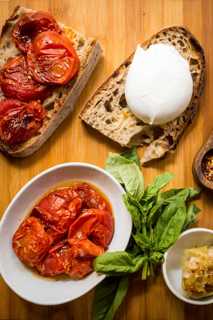 Roasted Tomato and Burrata Grilled Cheese | girlinthelittleredkitchen.com