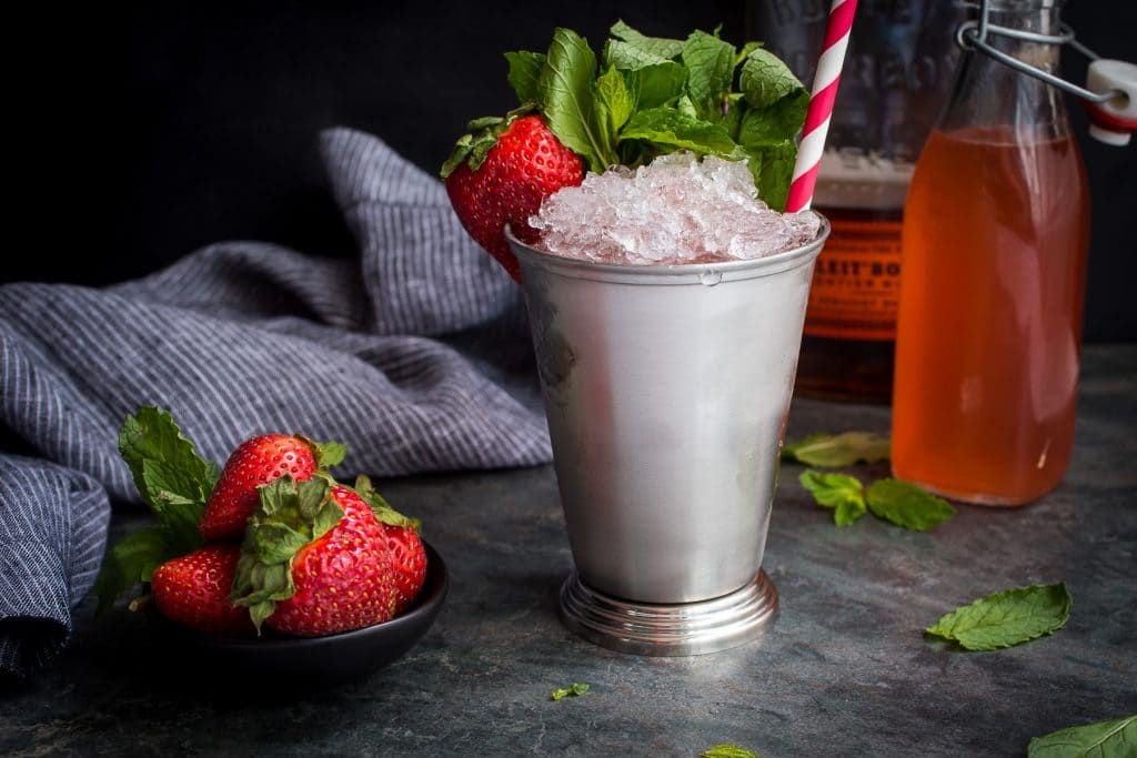 Strawberry Rhubarb Julep | girlinthelittleredkitchen.com