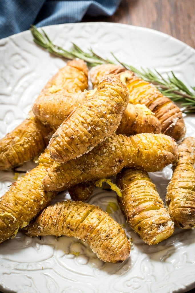 Air Fried Hasselback Fingerling Potatoes from The Girl In The Little Red Kitchen