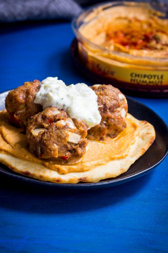 Chipotle Hummus Meatballs | girlinthelittleredkitchen.com