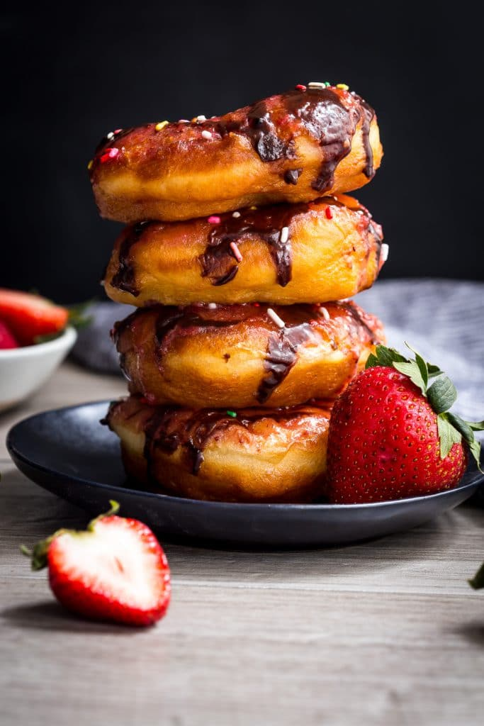 Chocolate Strawberry Doughnuts | girlinthelittleredkitchen.com
