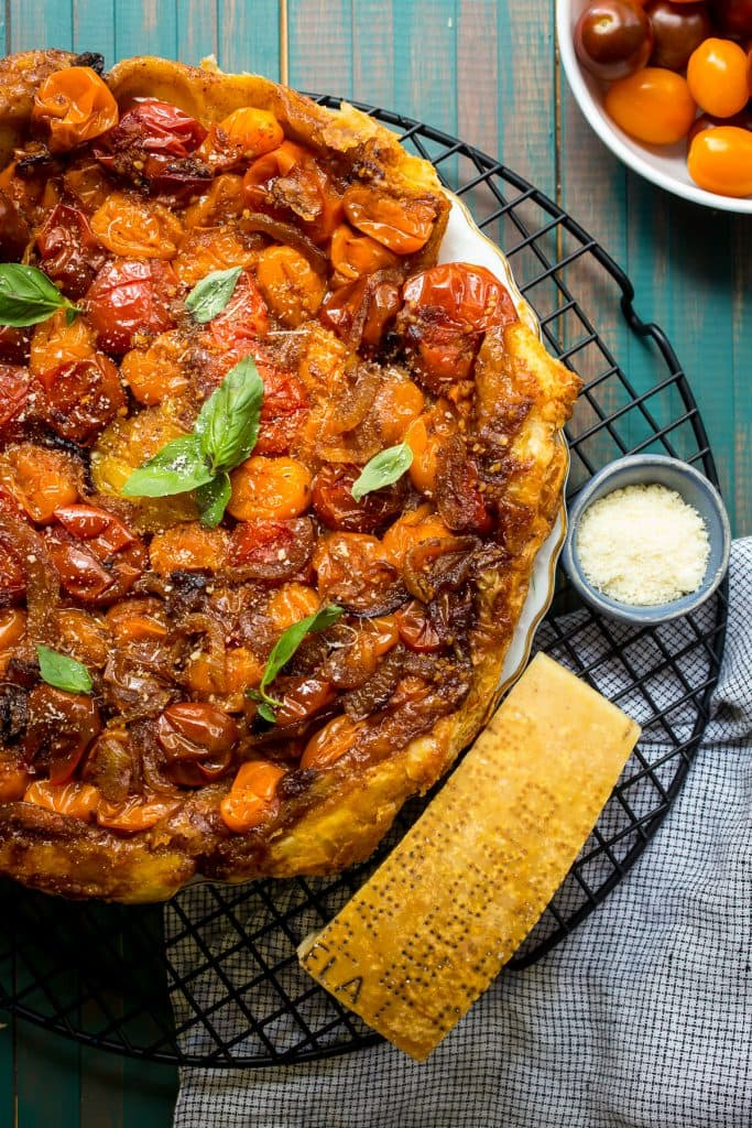 Tomato Parmesan Tarte Tatin from The Girl In The Little Red Kitchen