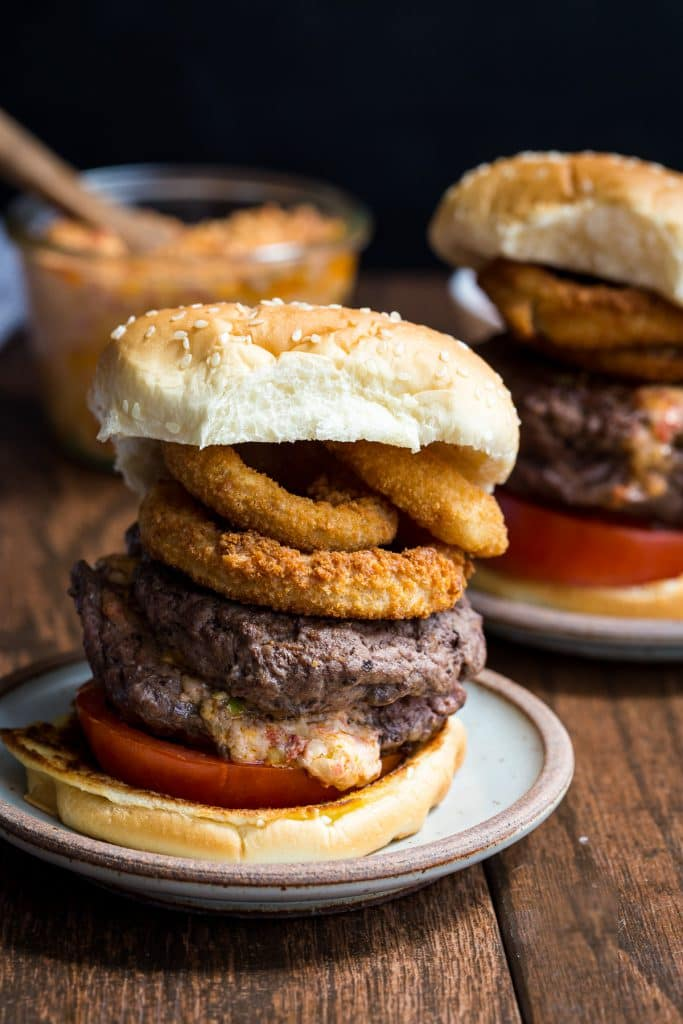 Juicy Lucy Pimento Goat Cheese Burgers from The Girl In The Little Red Kitchen