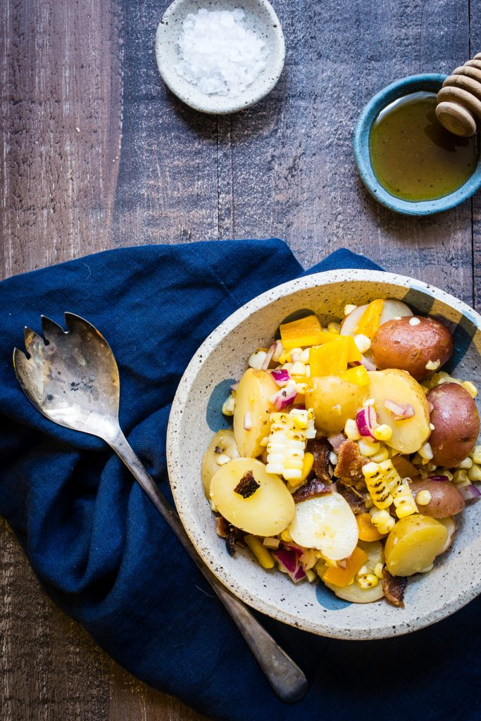 Potato Salad with Bacon, Corn and Peppers from The Girl In The Little Red Kitchen