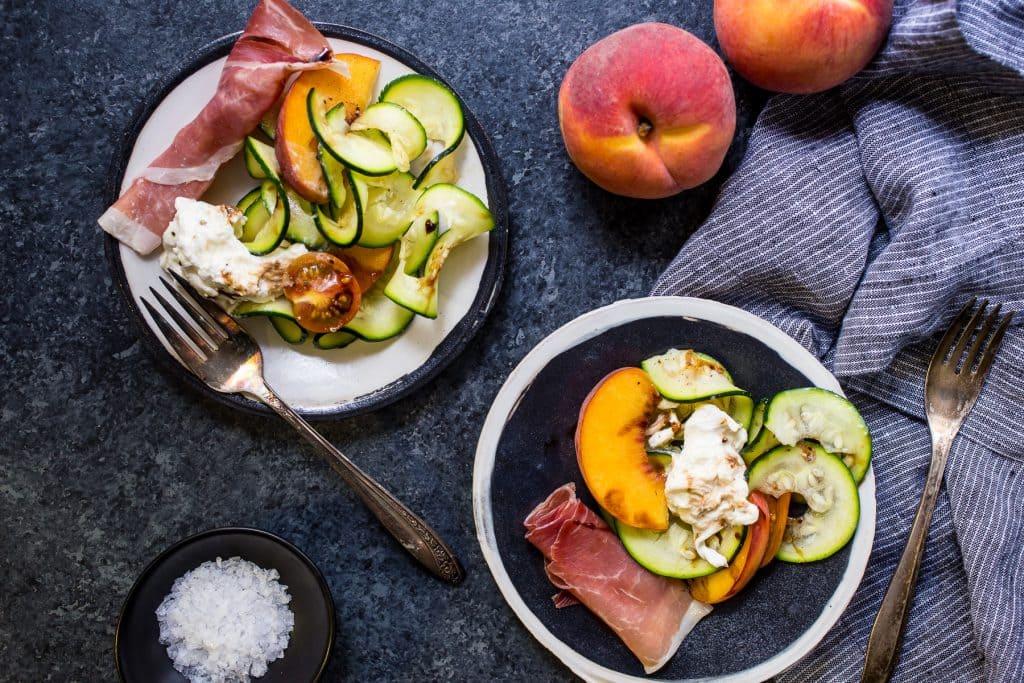Zucchini, Peach and Burrata Salad | girlinthelittleredkitchen.com
