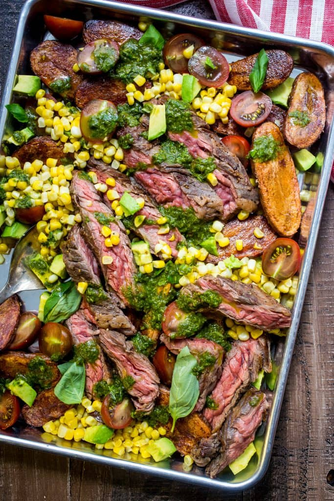 Steak and Potato Salad with Avocado Corn and Tomato from The Girl In The Little Red Kitchen