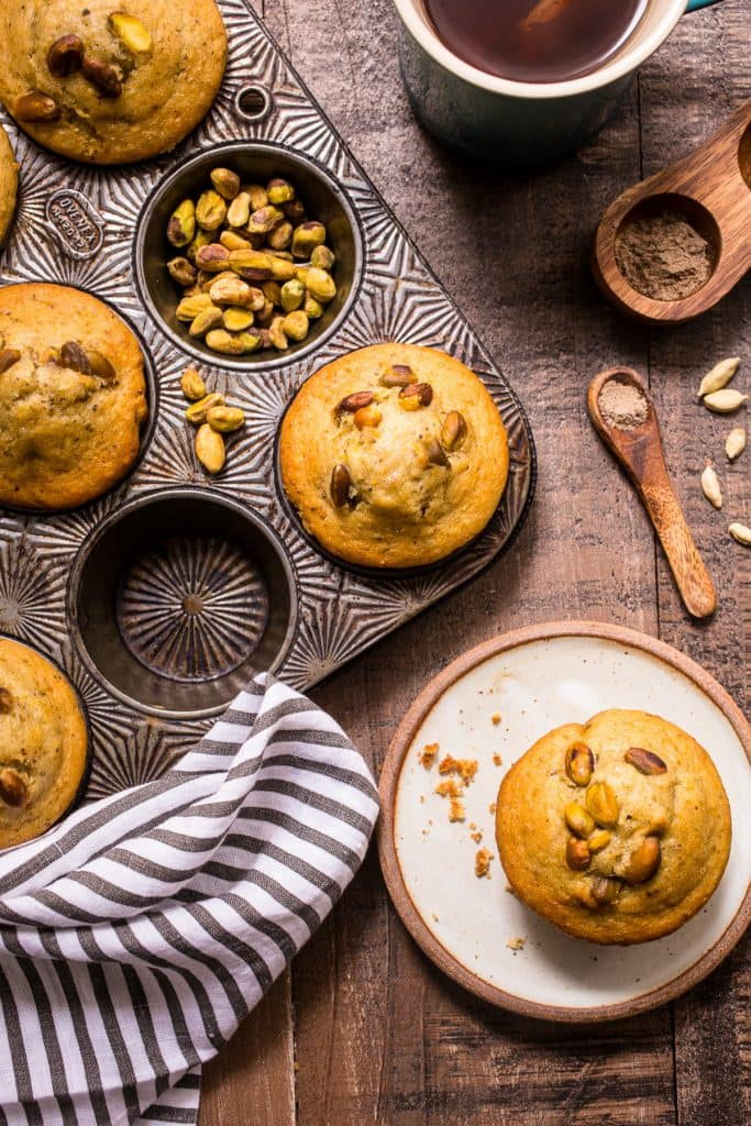 Pistachio Cardamom Muffins from The Girl In The Little Red Kitchen