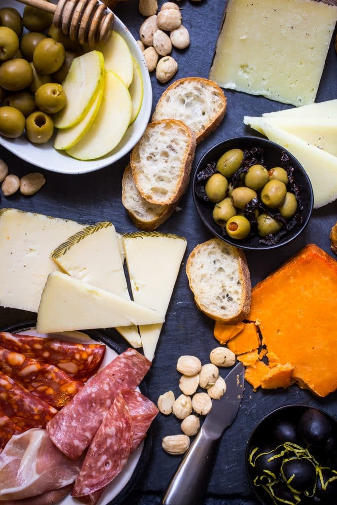 Spanish Olive and Cheese Board from The Girl In The Little Red Kitchen