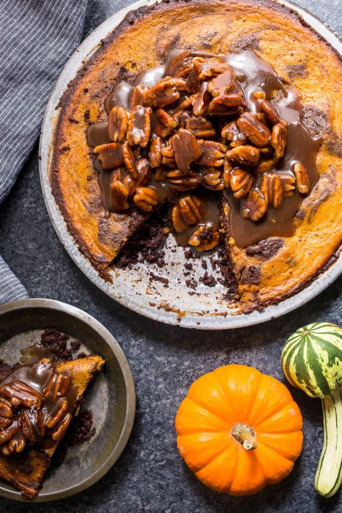 Bourbon Brownie Pumpkin Pie with Pecan Topping | girlinthelittleredkitchen.com