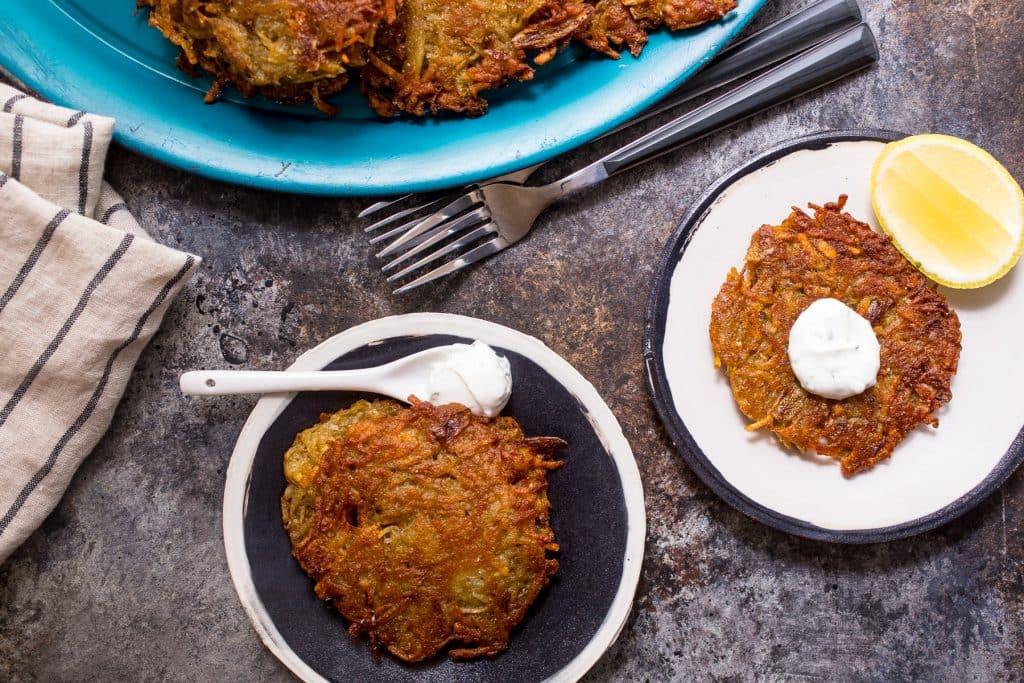 Tikka Masala Spiced Latkes | girlinthelittleredkitchen.com