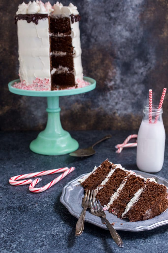 Chocolate Peppermint Cake | girlinthelittleredkitchen.com