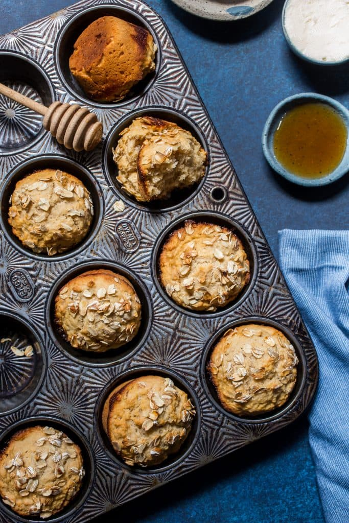 Honey Wheat Hard Cider Beer Bread Muffins | girlinthelittleredkitchen.com