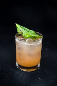 Grapefruit and Basil Cocktail | girlinthelittleredkitchen.com