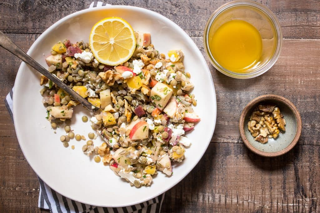 Warm Lentil Salad with Lemon Vanilla Vinaigrette | girlinthelittleredkitchen.com
