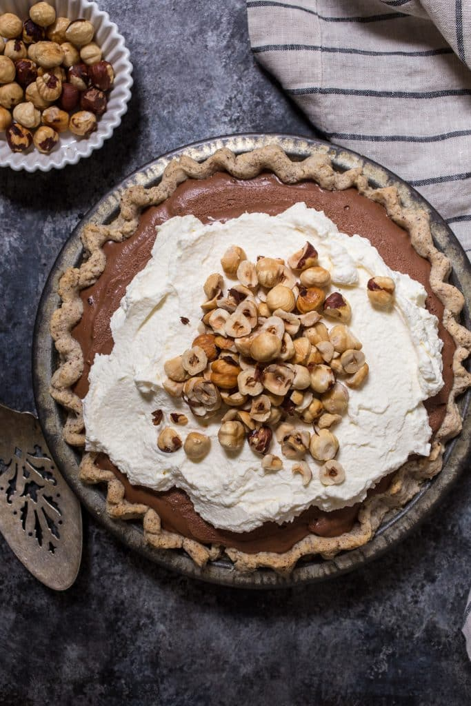 Boozy Chocolate Hazelnut Cream Pie | girlinthelittleredkitchen.com