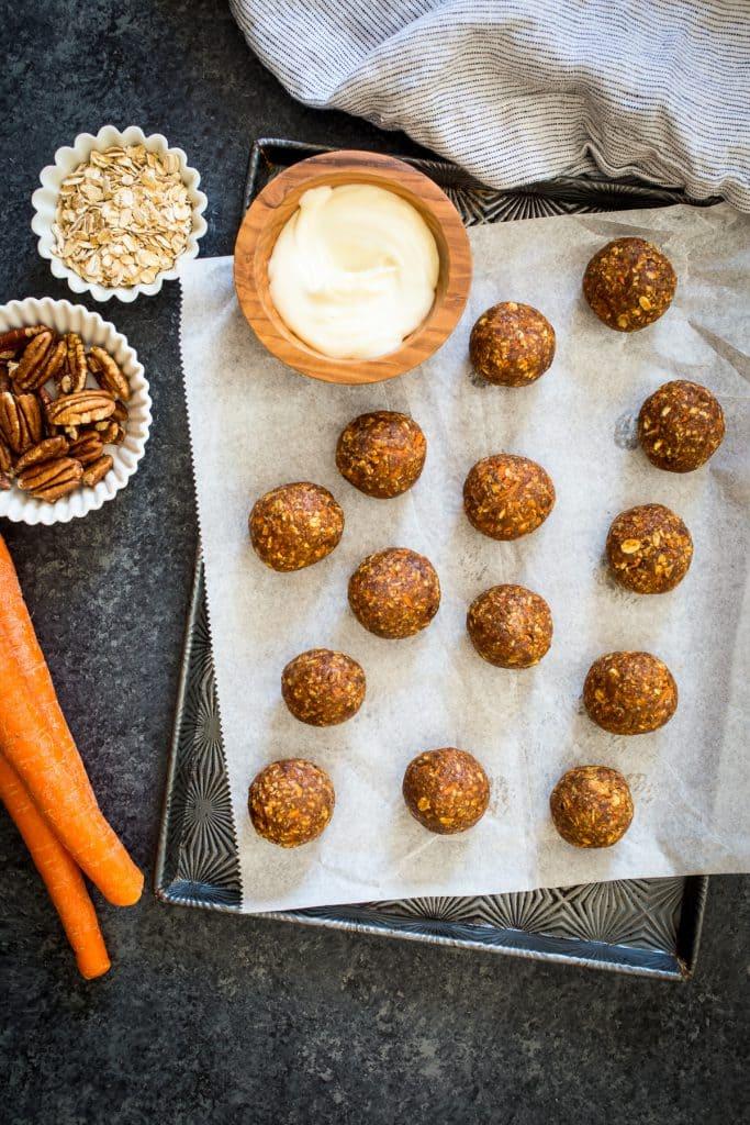 Carrot Cake Energy Bites | girlinthelittleredkitchen.com