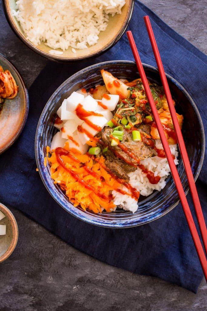 Korean BBQ Rice Bowl | girlinthelittleredkitchen.com