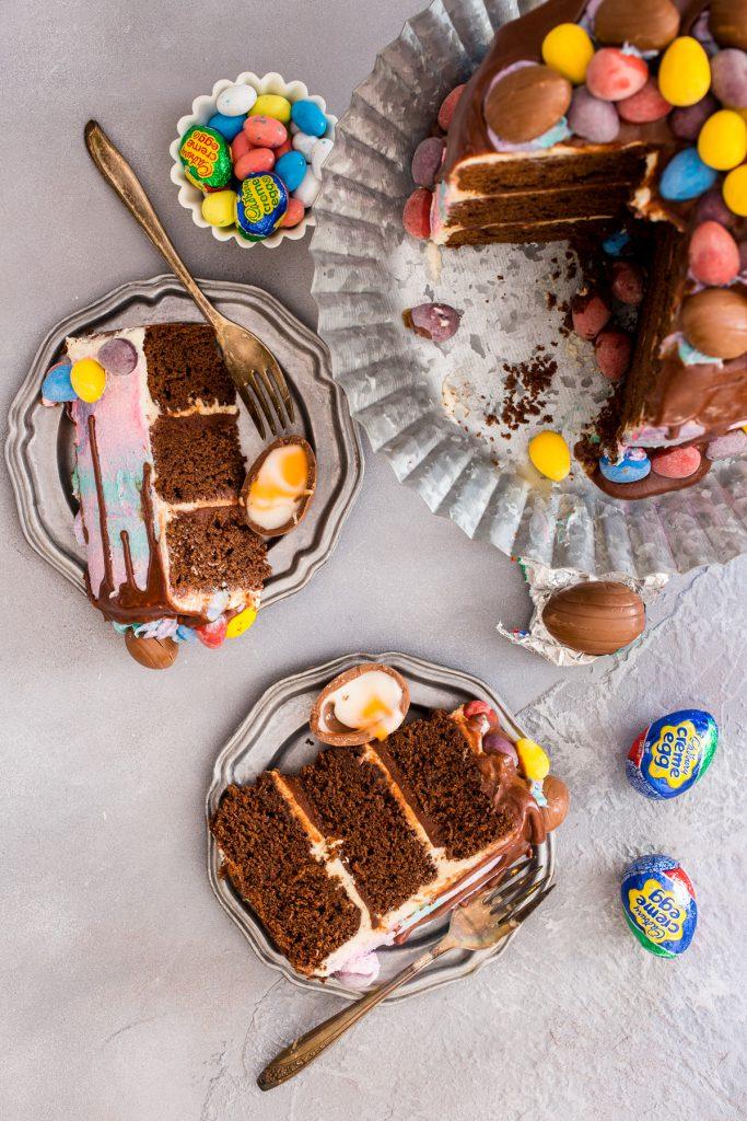 Cadbury Mini Egg Layer Cake | girlinthelittleredkitchen.com