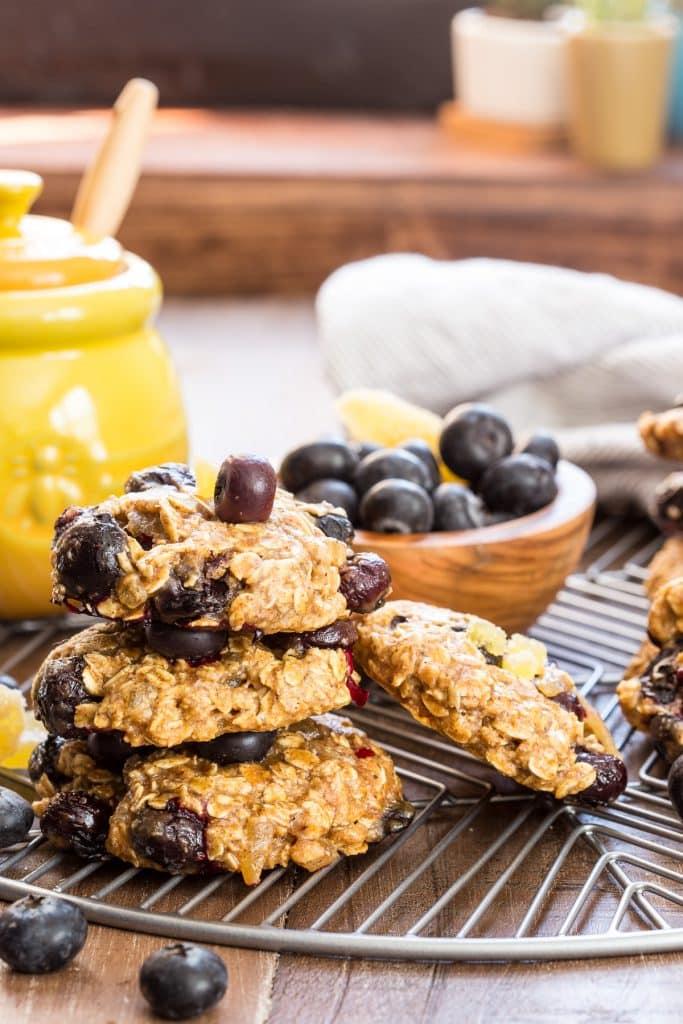 Honey Ginger & Blueberry Breakfast Cookies | girlinthelittleredkitchen.com