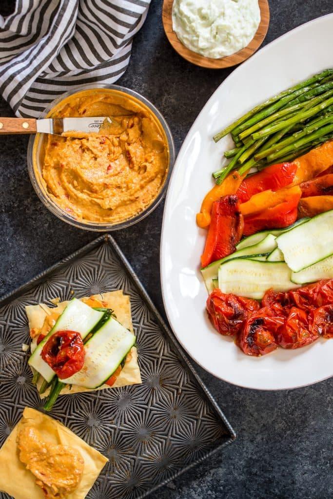 Roasted Vegetable and Hummus Napoleon | girlinthelittleredkitchen.com