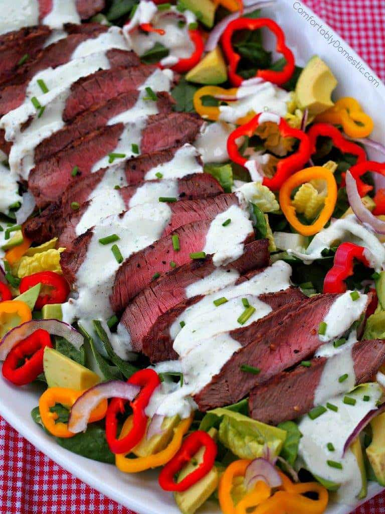 Steak Salad with Chive Yogurt Dressing | Comfortably Domestic