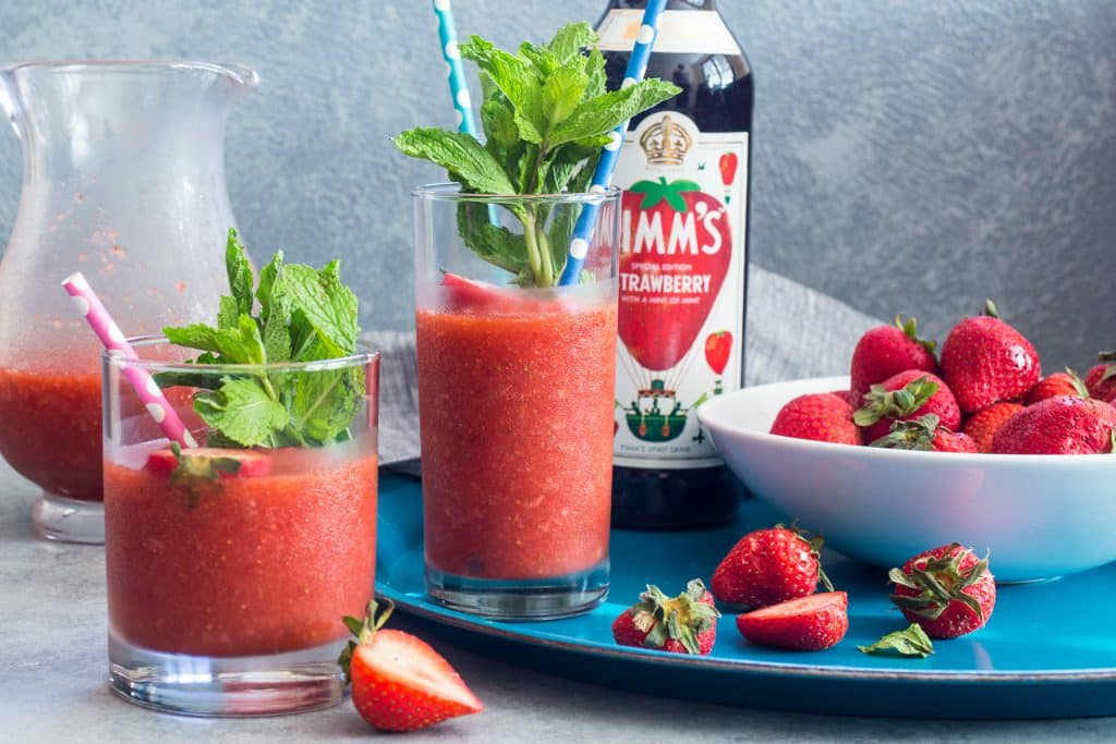 Strawberry Pimm's Slush | girlinthelittleredkitchen.com