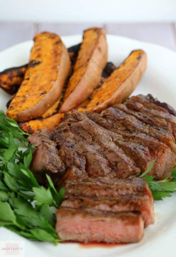 Espresso Bourbon Glazed Steak and Grilled Sweet Potatoes | Pook's Pantry