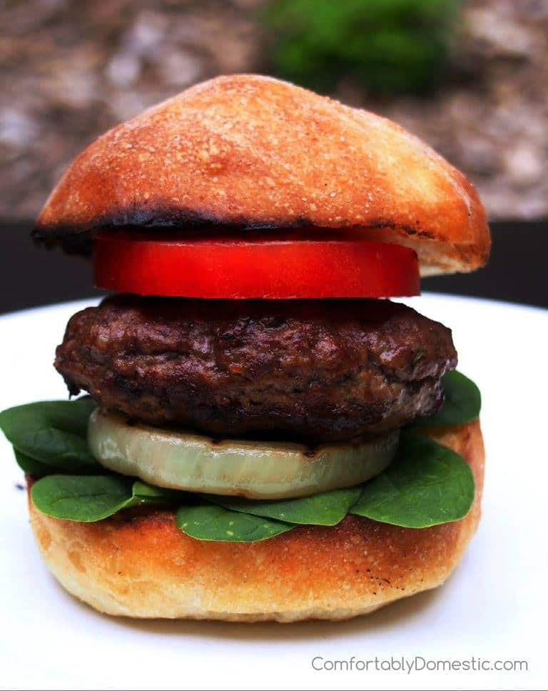 Feta Stuffed Lamb Burgers with Grilled Sweet Onion Steaks | Comfortably Domestic
