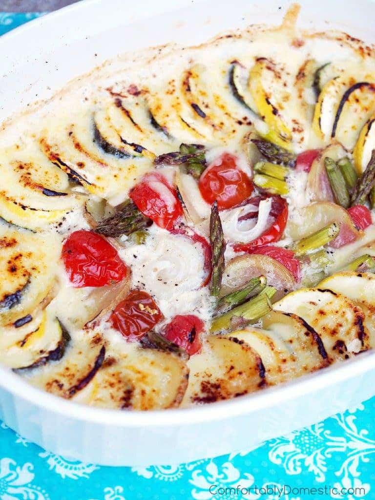 Summer Vegetable Gratin Casserole | Comfortably Domestic