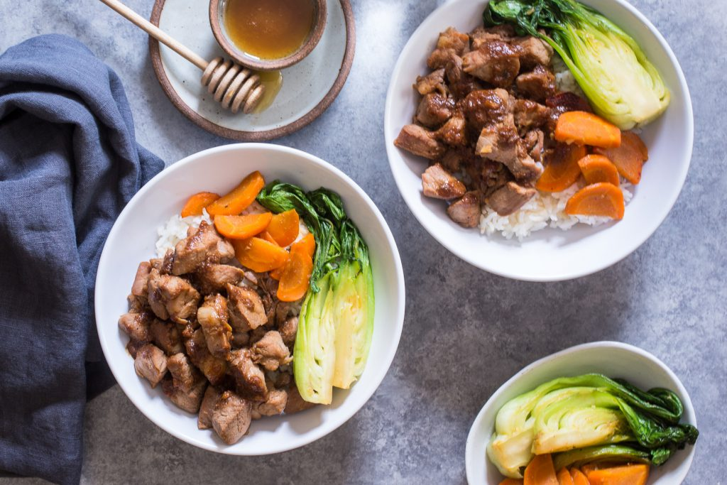 Asian Rice Bowls with Hone Soy Pork Tenderloin | girlinthelittleredkitchen.com