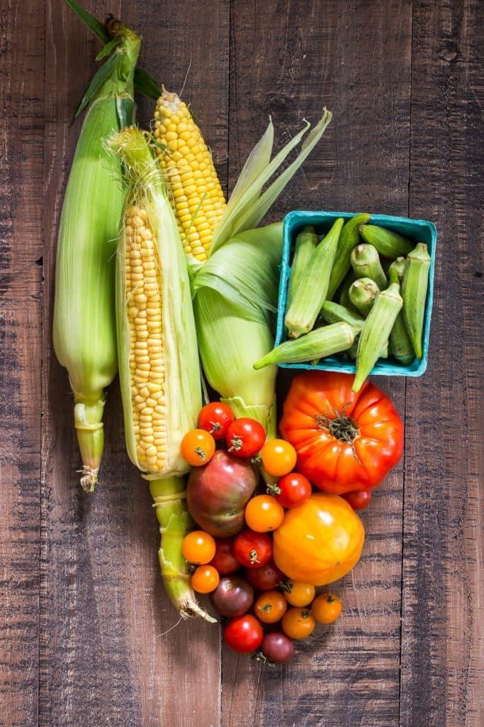 Okra, Corn and Tomato Salad   girlinthelittleredkitchen.com