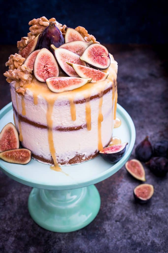 Honey Fig Walnut Cake | girlinthelittleredkitchen.com