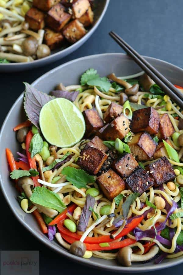 Vegan Crispy Tofu Asian Noodle Bowl | Pook's Pantry