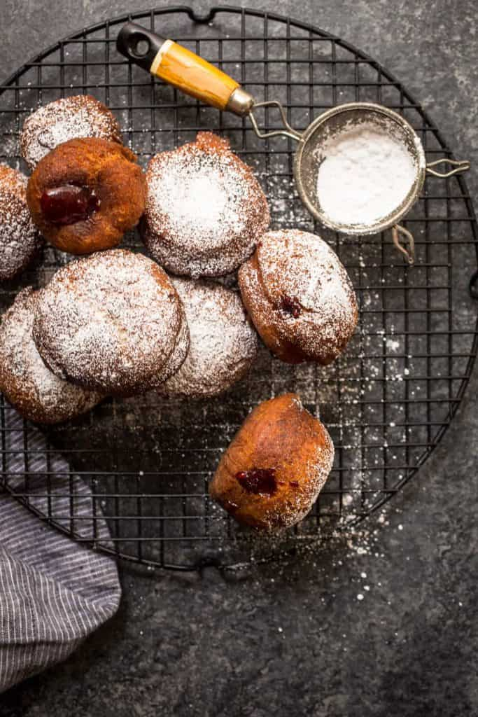 Potato Jelly Doughnuts | girlinthelittleredkitchen.com