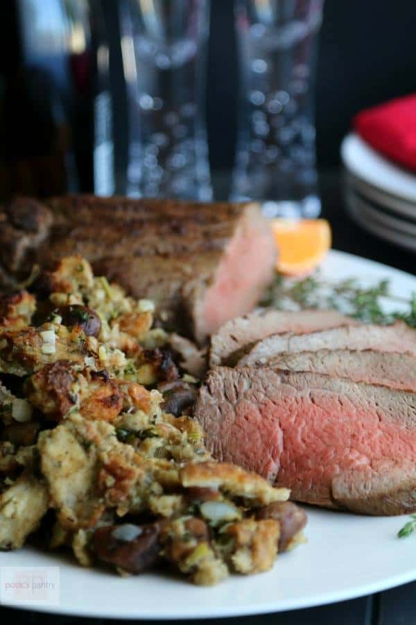 Porcini-Crusted Beef Tenderloin with Chestnut Stuffing | Pook's Pantry