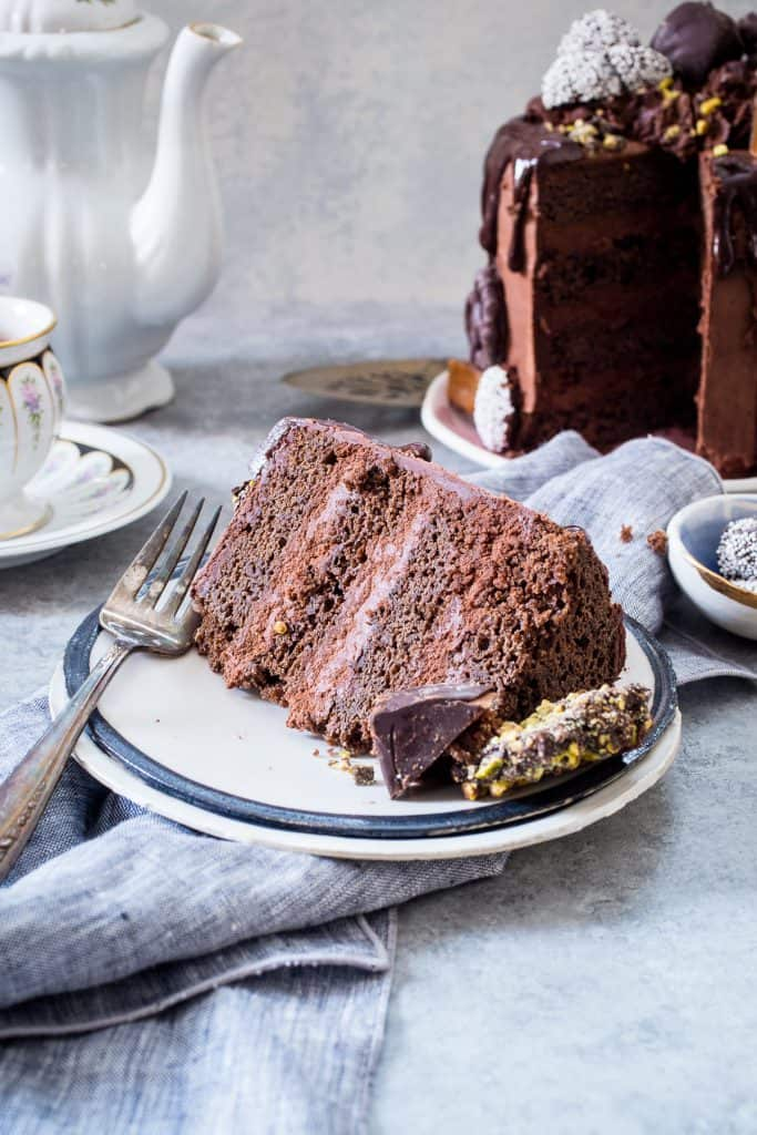 Triple Chocolate Mousse Cake | girlinthelittleredkitchen.com