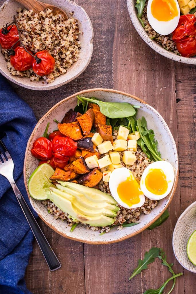 Southwest Quinoa Breakfast Bowl in ceramic bowl