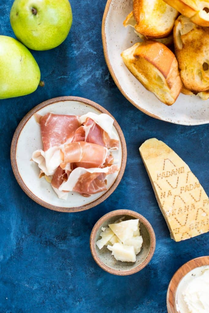Prosciutto Pear and Grana Padano Crostini